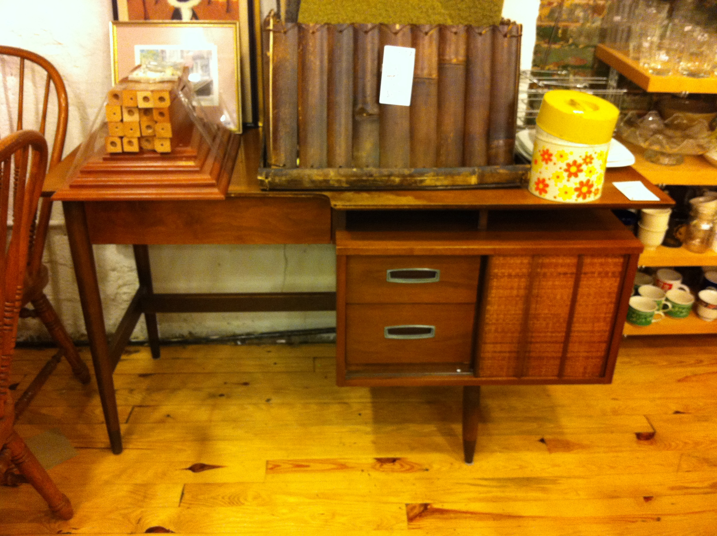 Pic of a mid century desk in thrift store