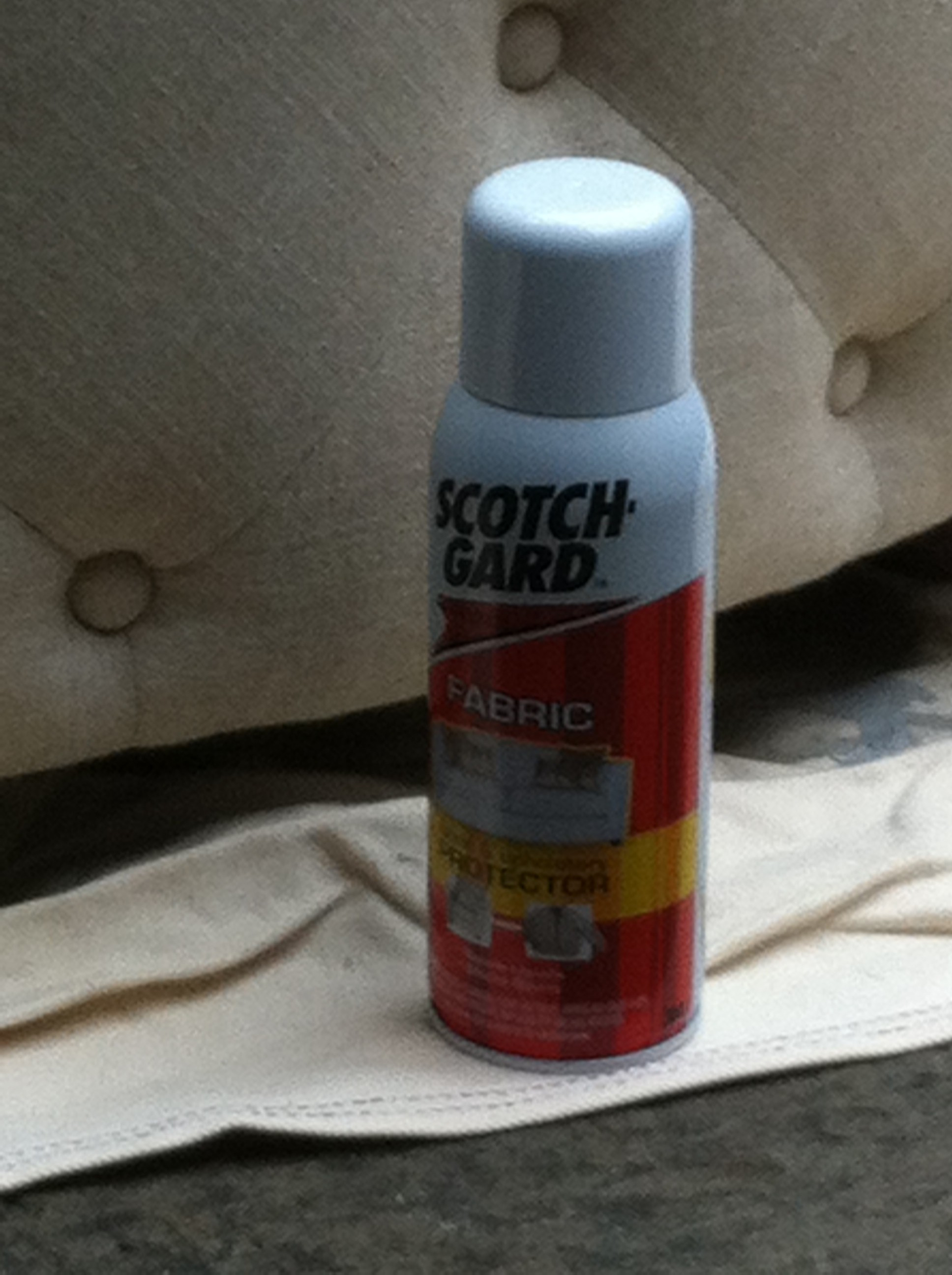 A close up shot of Scotchgard Fabric protectant
