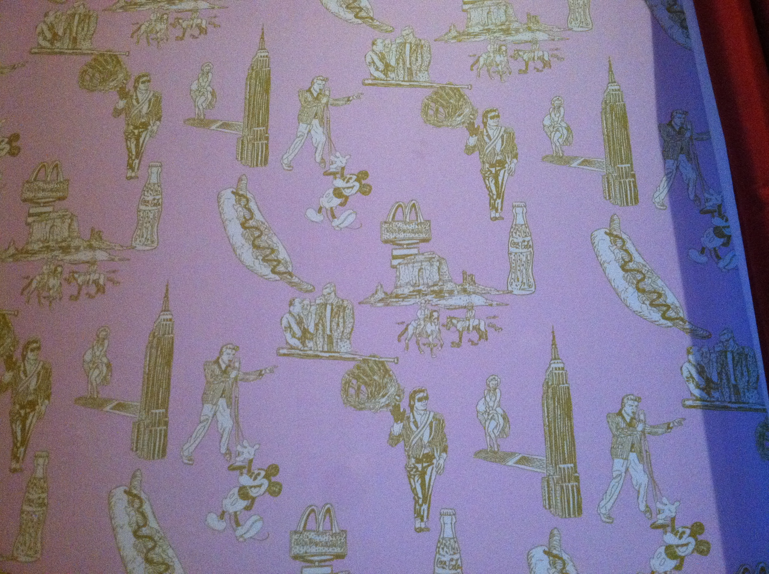 A close up pic of the pop art toile wallpaper in exhibit