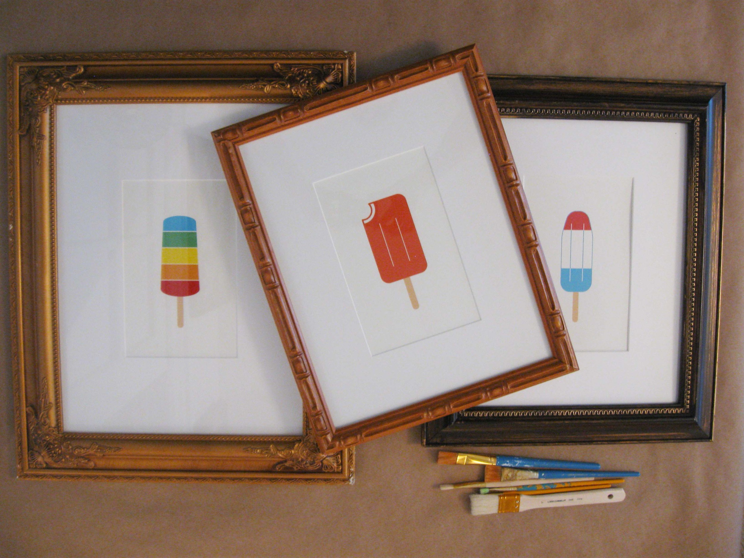 Popsicle art with mats inside janky frames