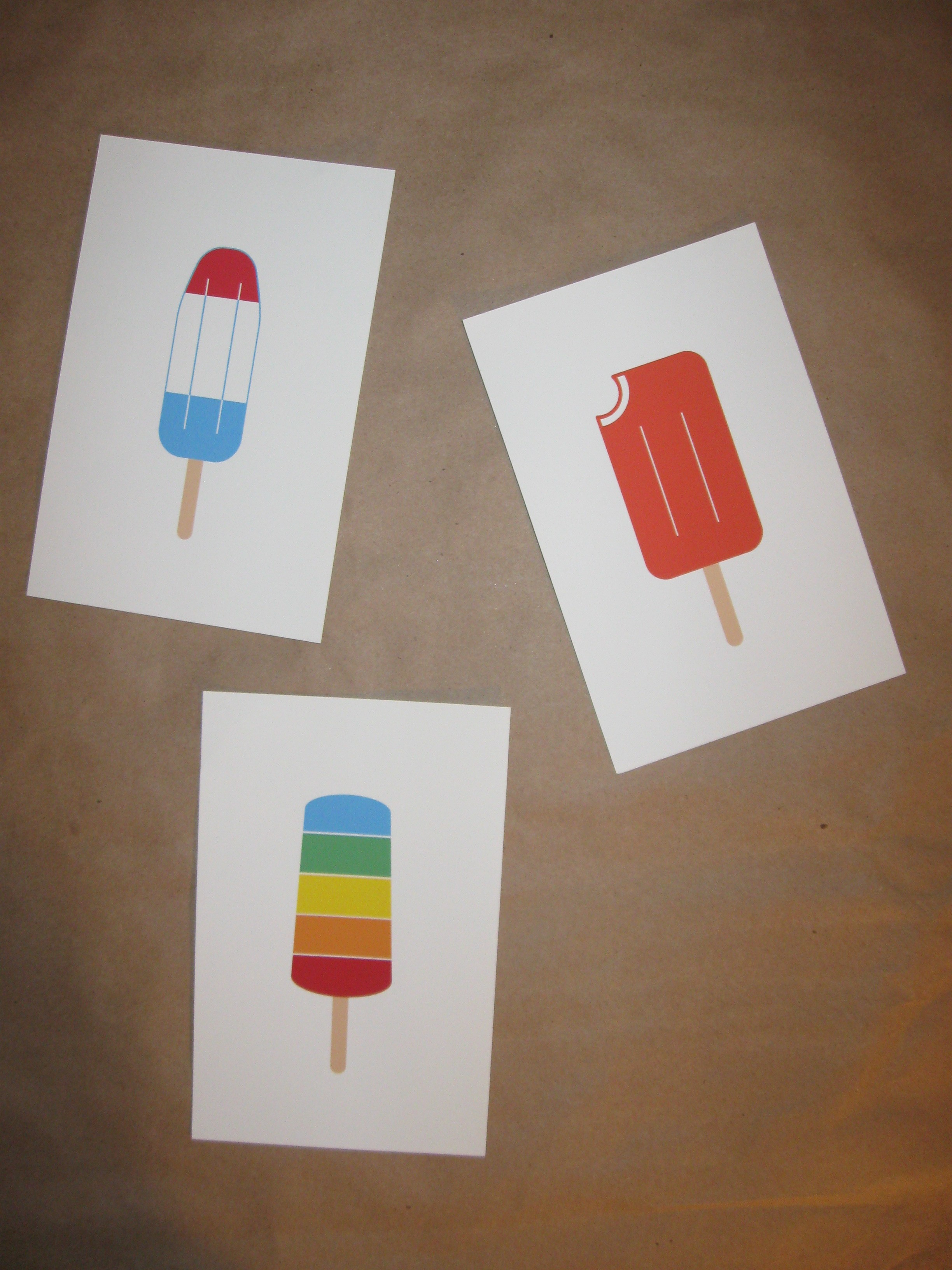 Popsicle art prints BEFORE framing painting project