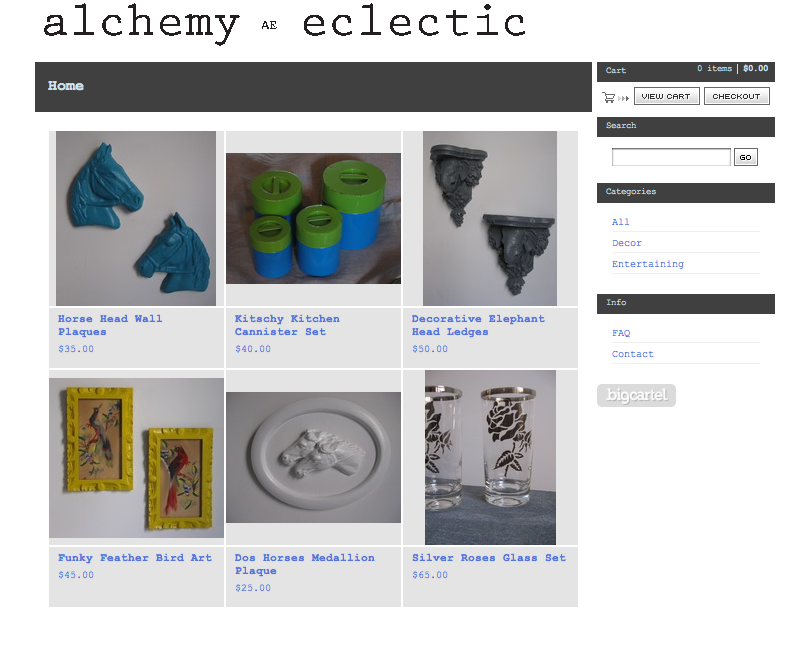 A screen grab of Alchemy Eclectic shop