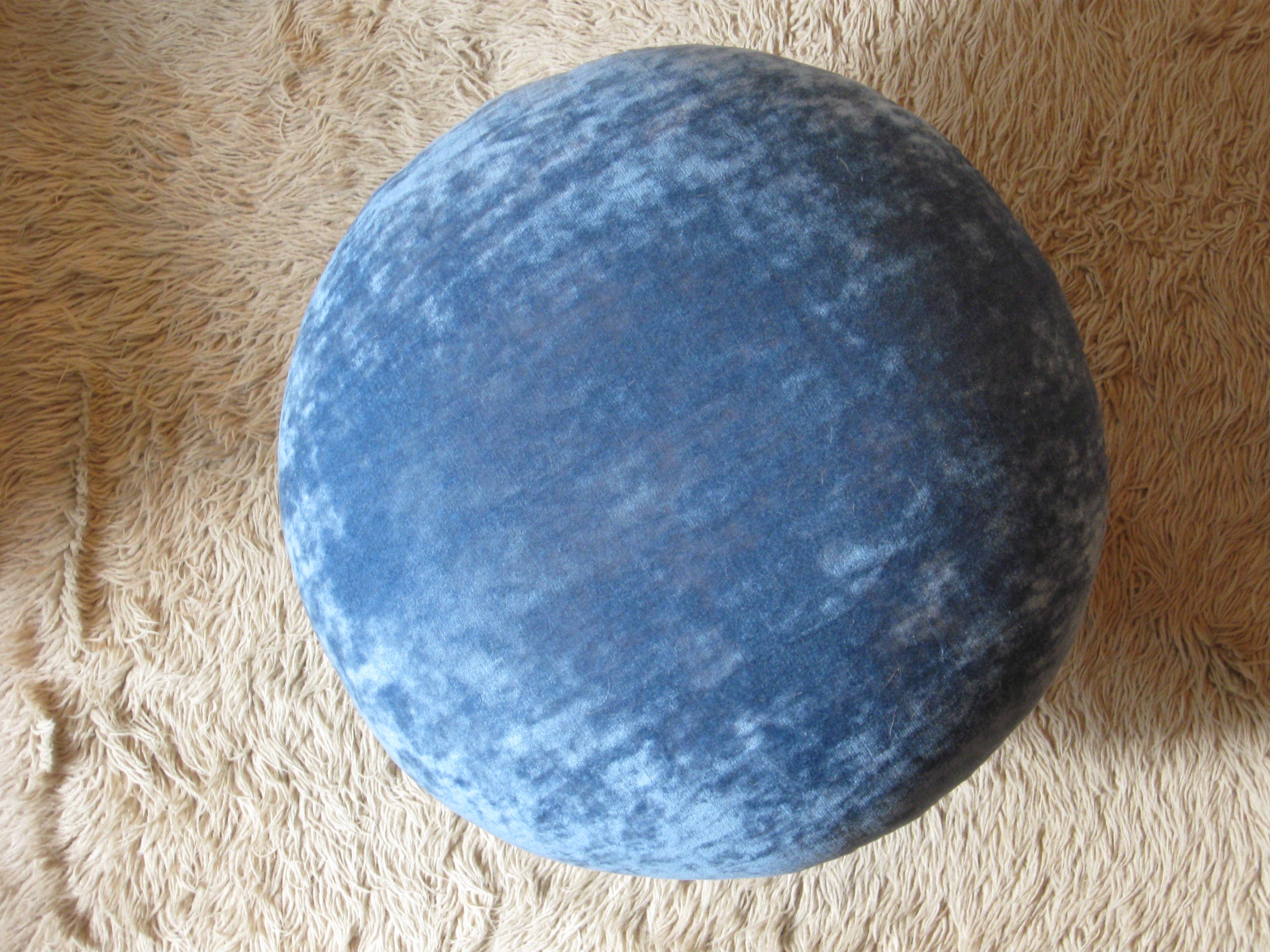 An overhead shot of PJ Mehaffey's blue velvet mushroom ottoman