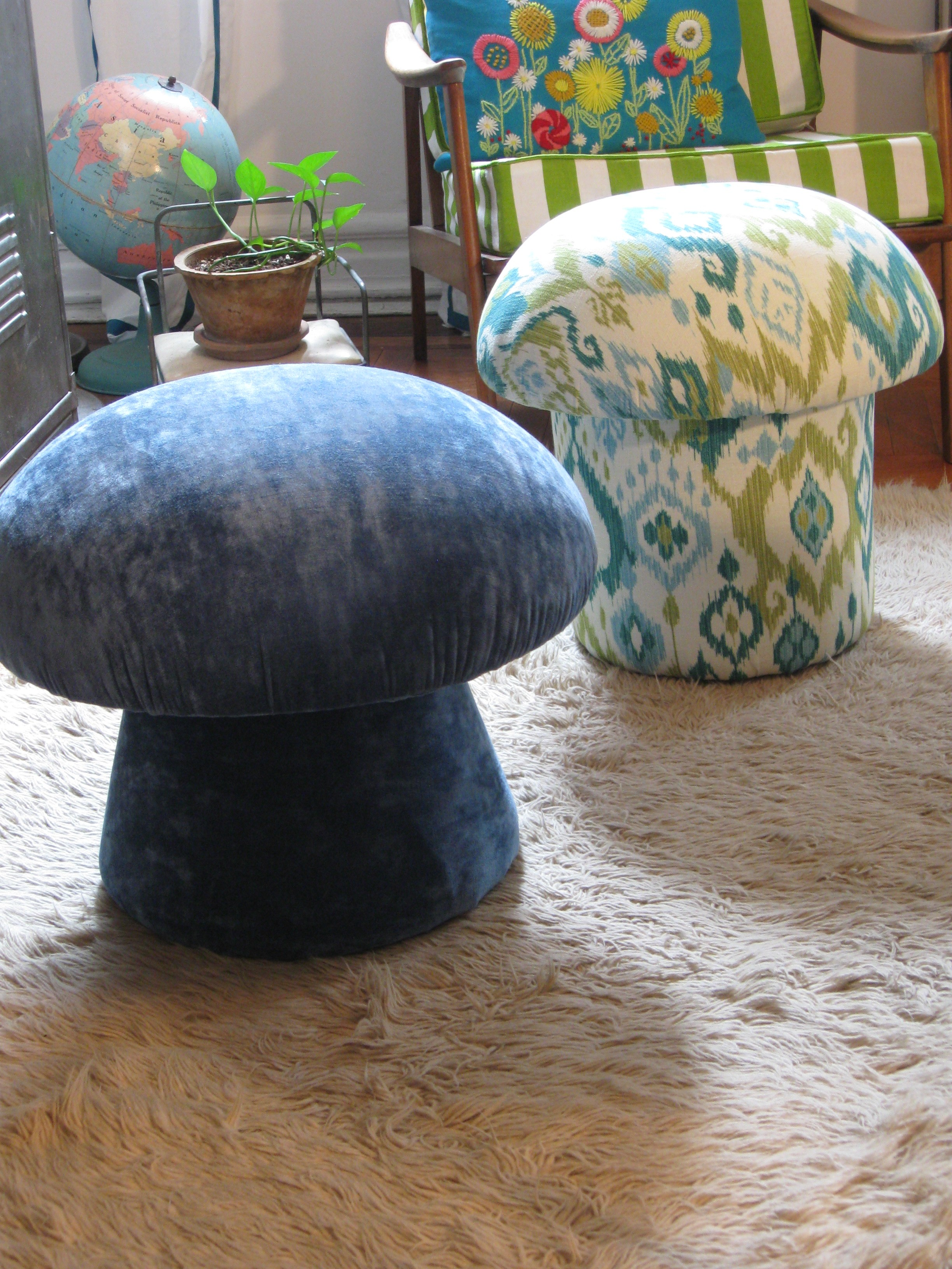 After pic of PJ Mehaffey's two reupholstered mushroom ottomans