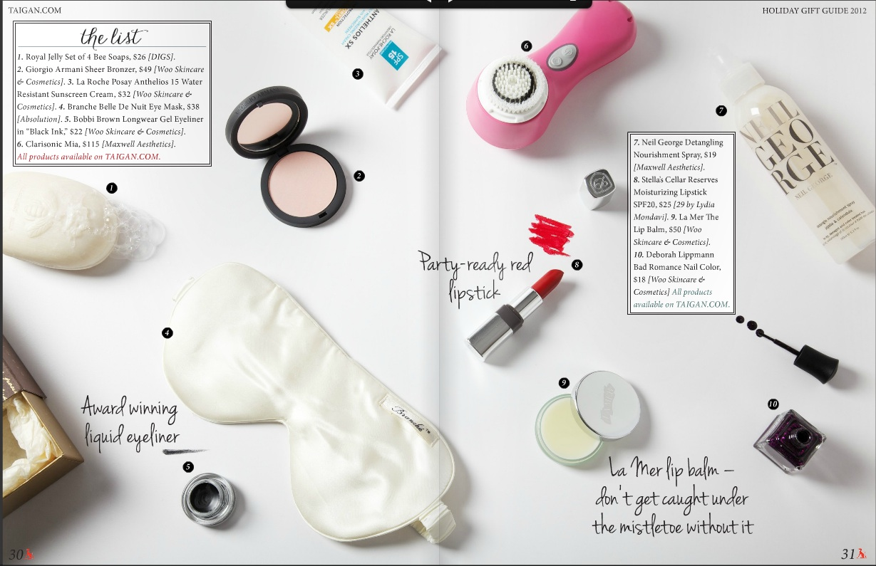 A screen grab of the cosmetic section of Taigan gift guide styled by PJ Mehaffey