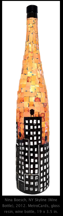 Shot of wine bottle inspired art work