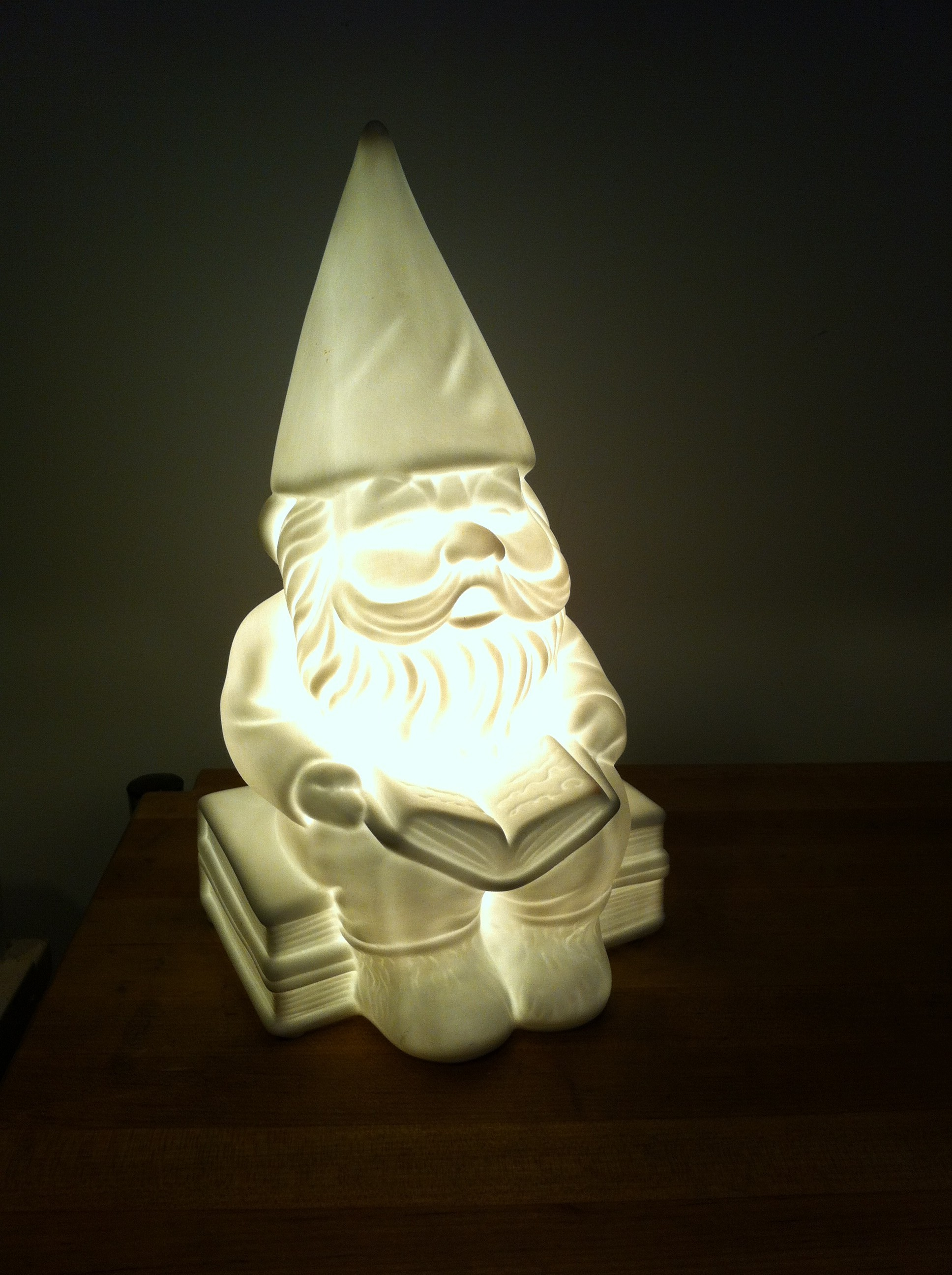 Pic of the 'good luck gnome' all aglow