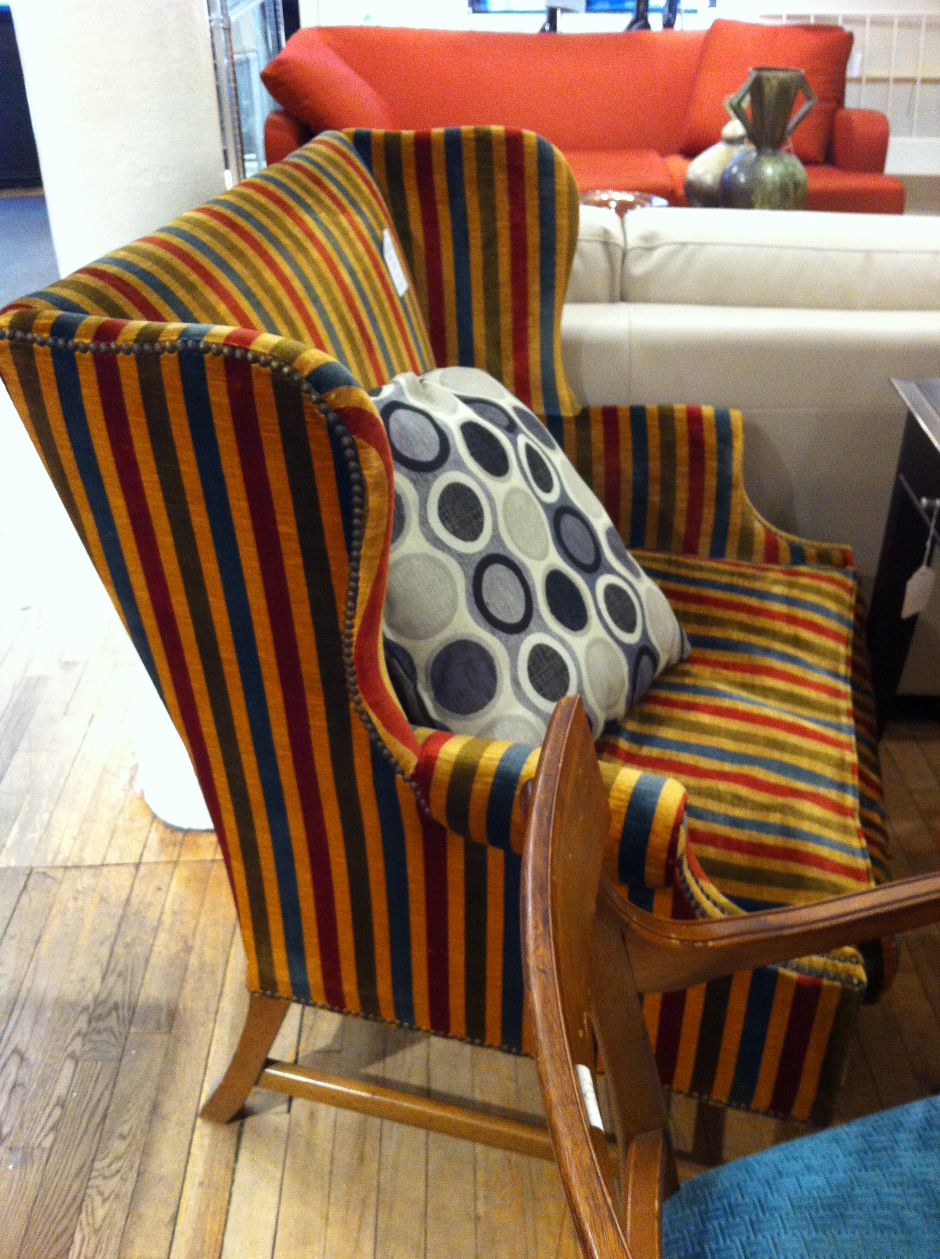 A wingback chair at Angel Thrift Store