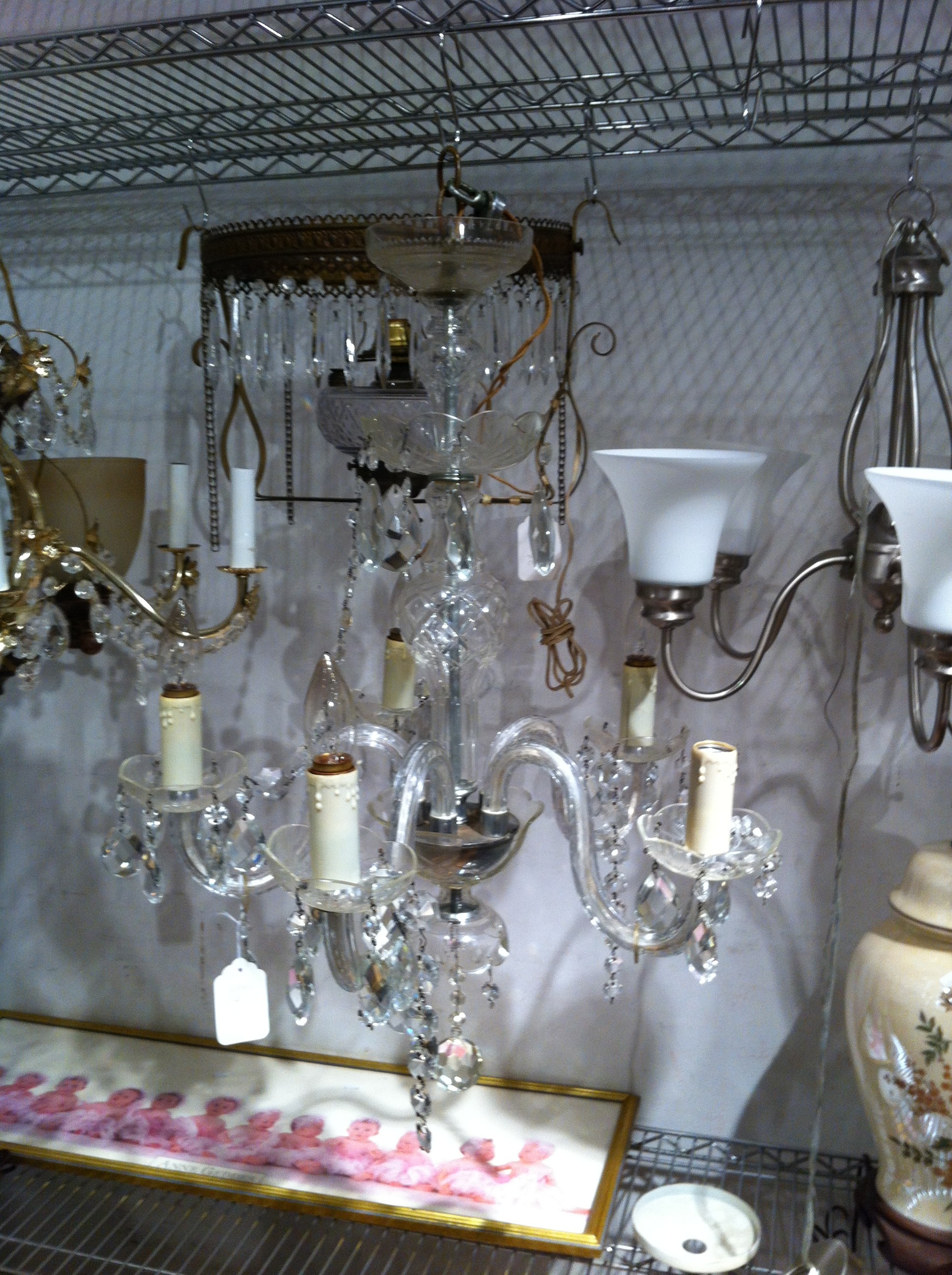 A crystal chandelier at Angel Street Thrift