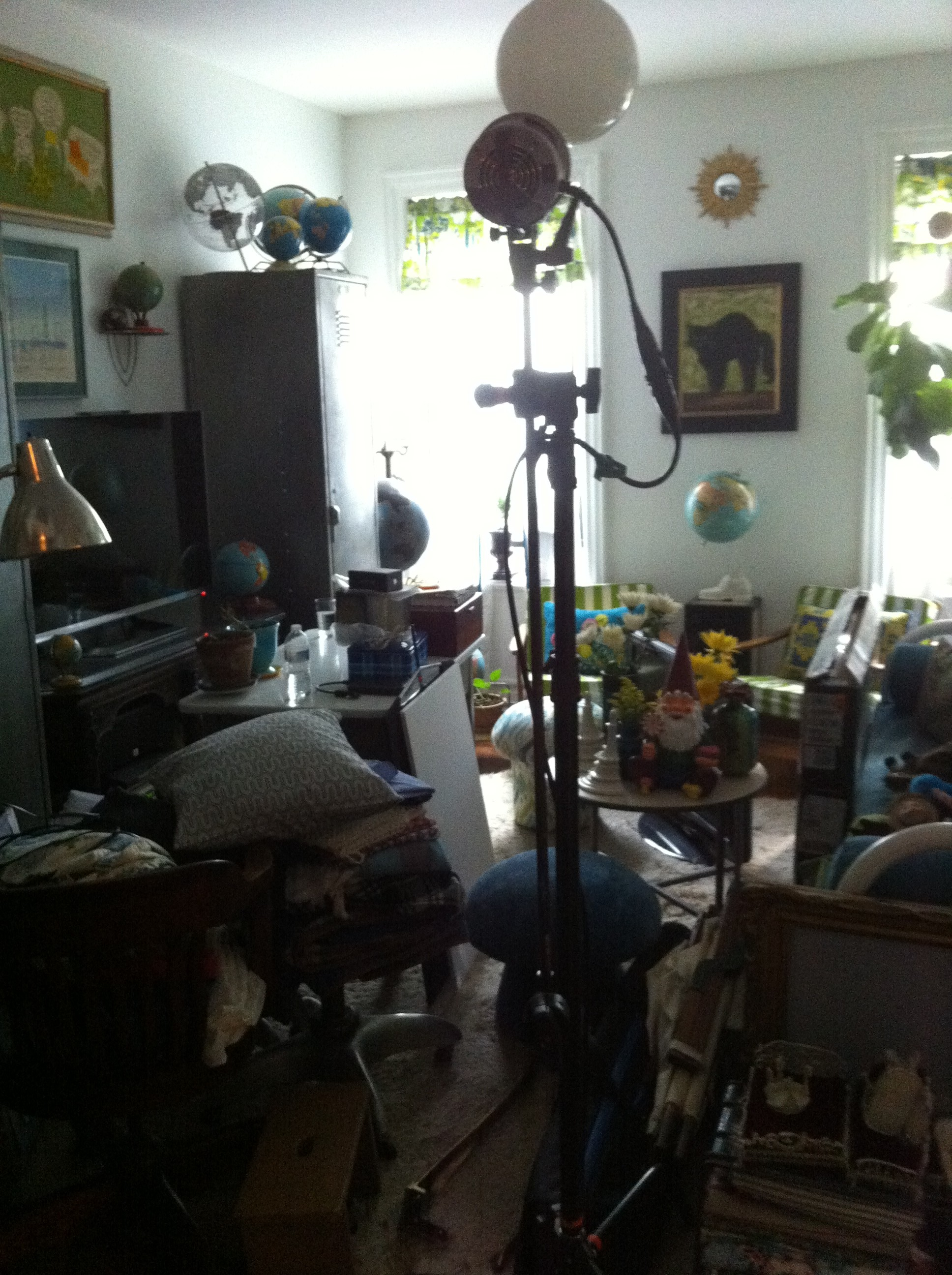A pic of PJ Mehaffey's messed up living room during a photo shoot by Bob Martus