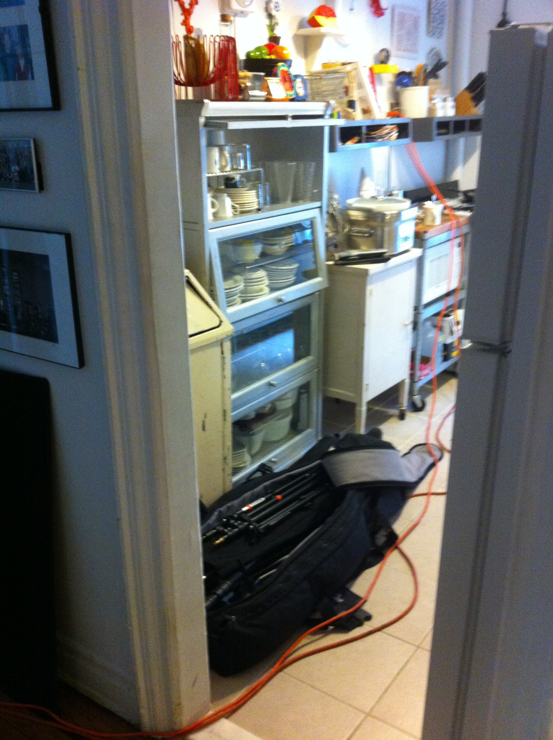 A pic of Bob Martus' photo equipment raging in PJ Mehaffey's kitchen