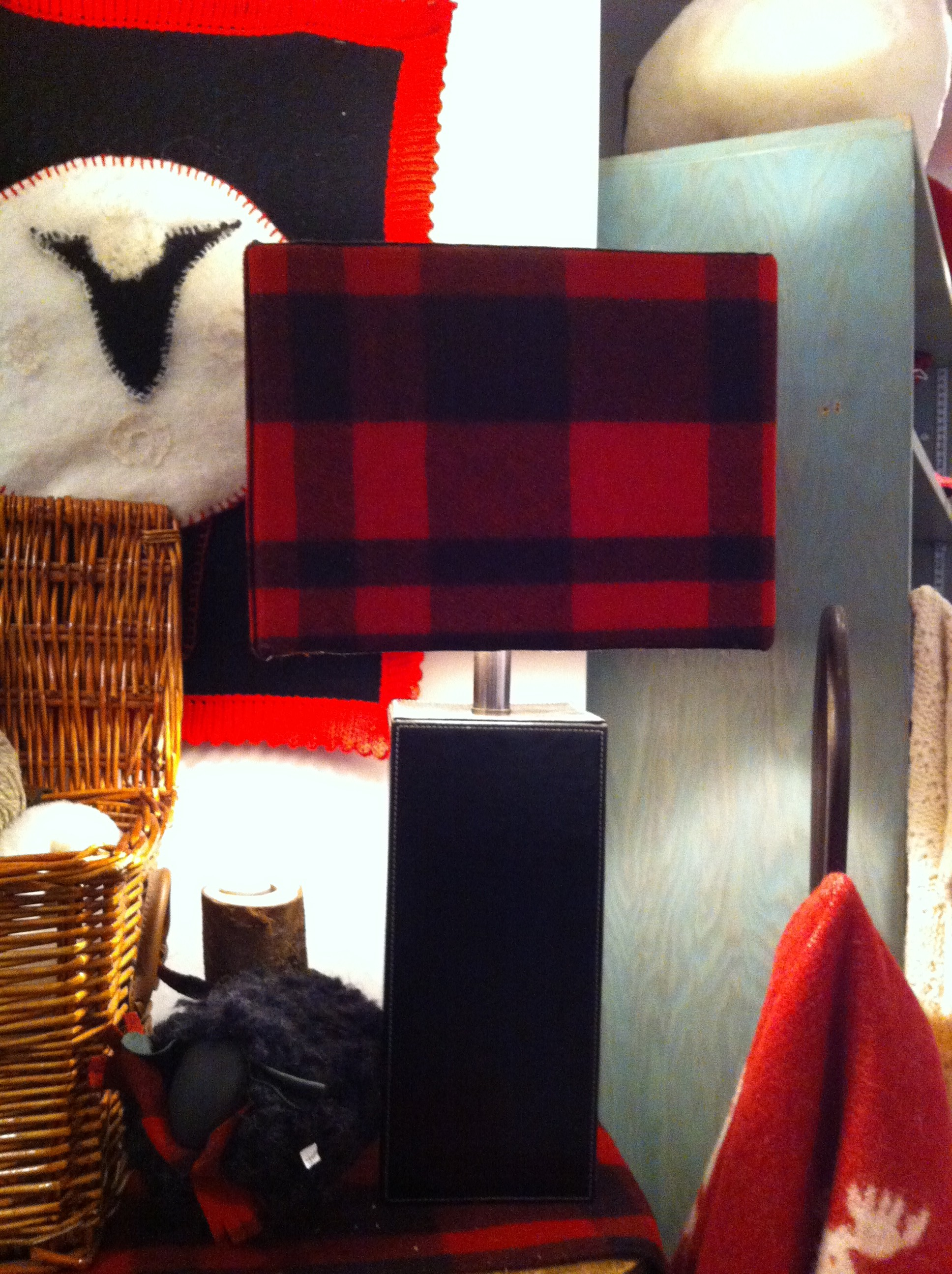 A rectangular red plaid lampshade at Lambert & Co