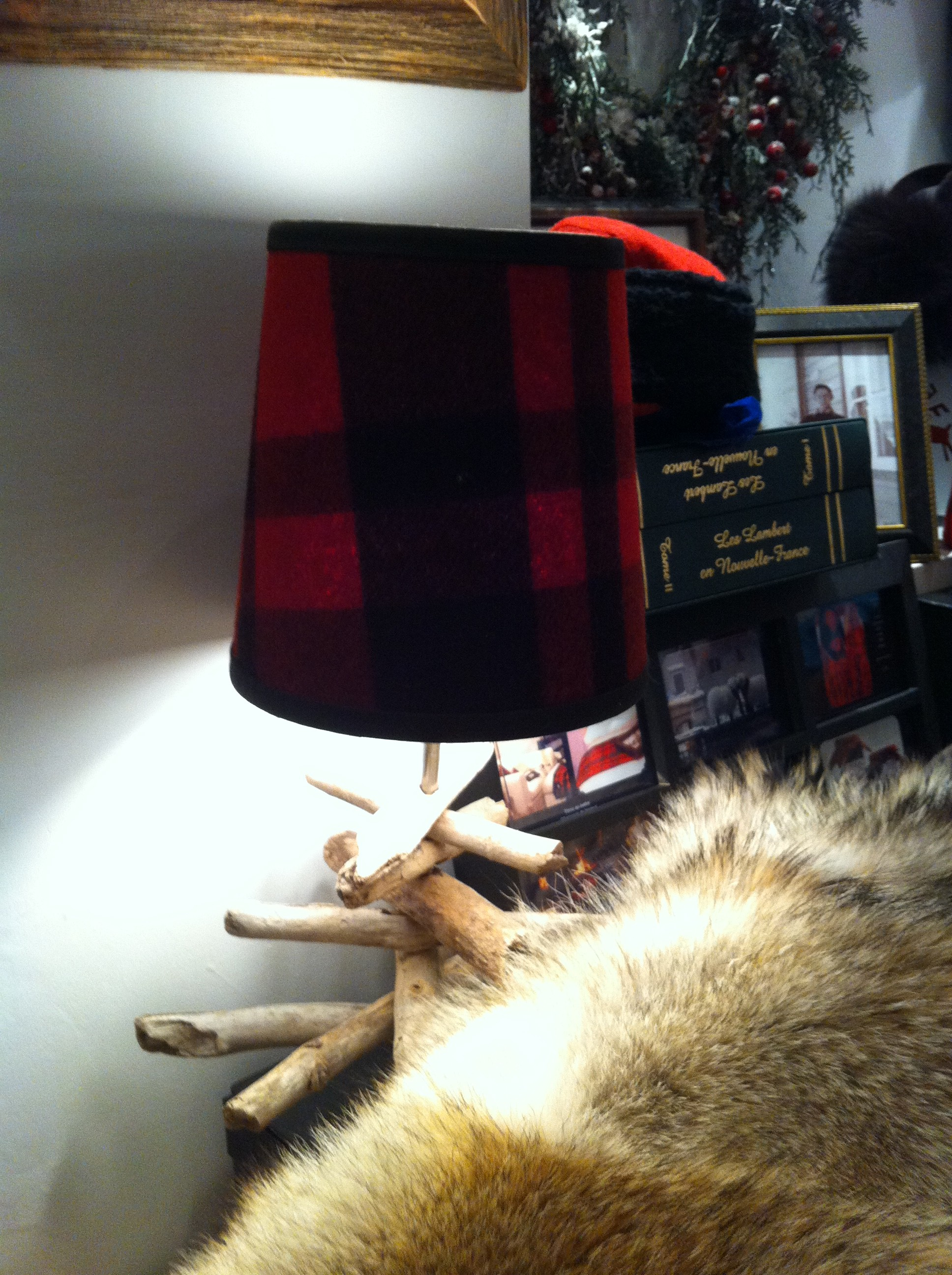 Red plaid lampshade at Lambert & Co