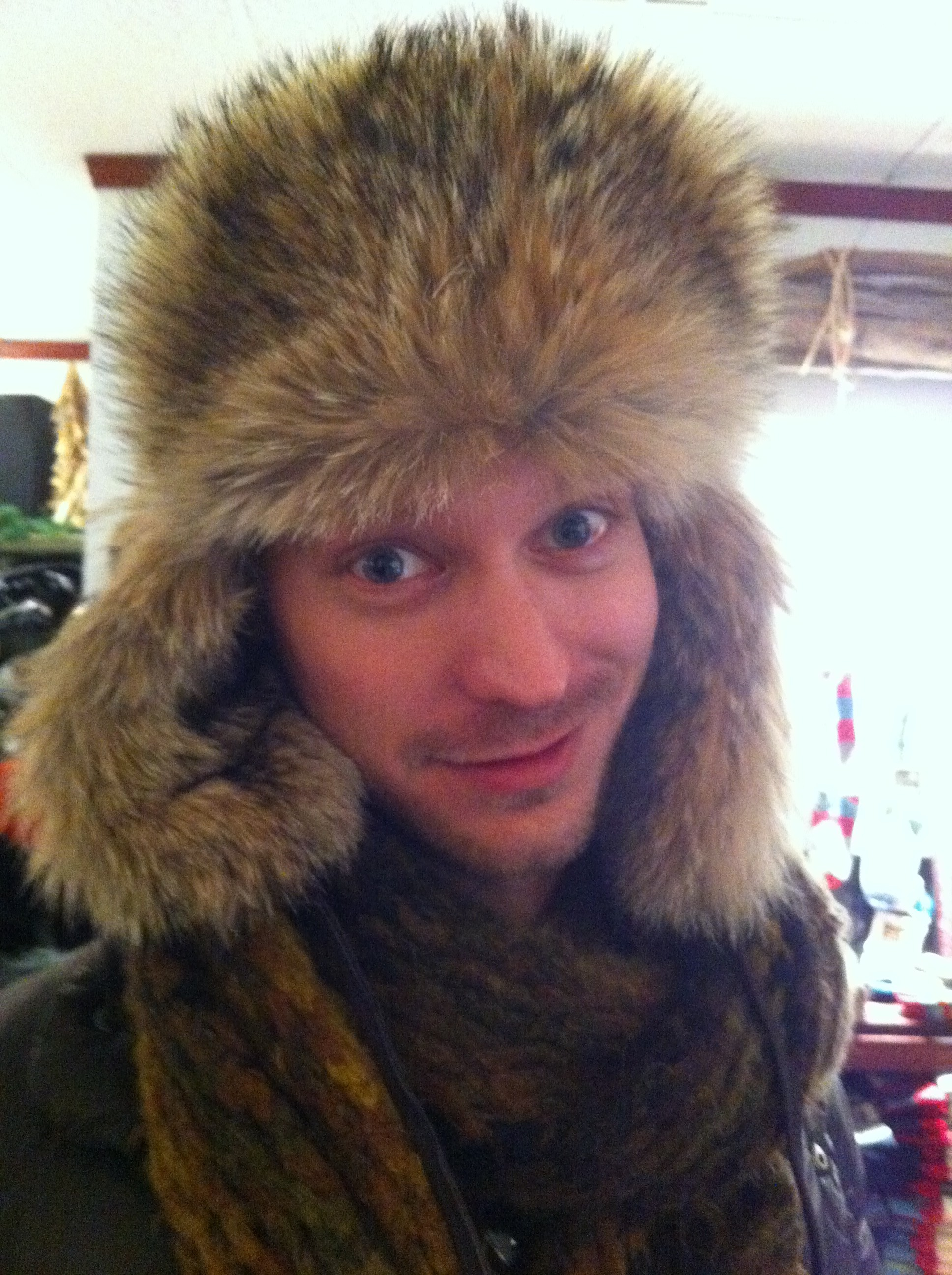 A pic of Christopher Michael White in new fur hat