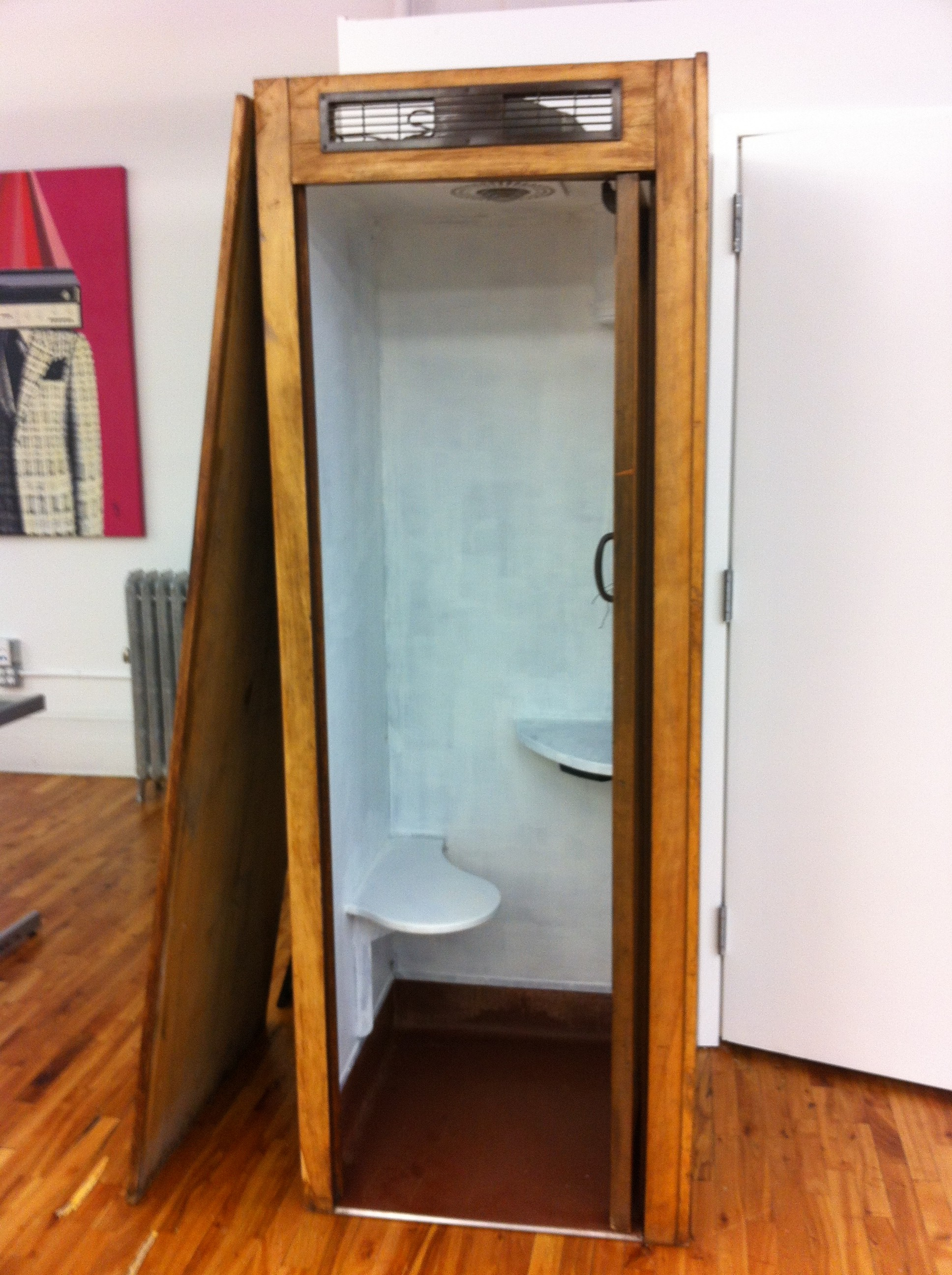 A pic of the primed interior of one of the phone booths