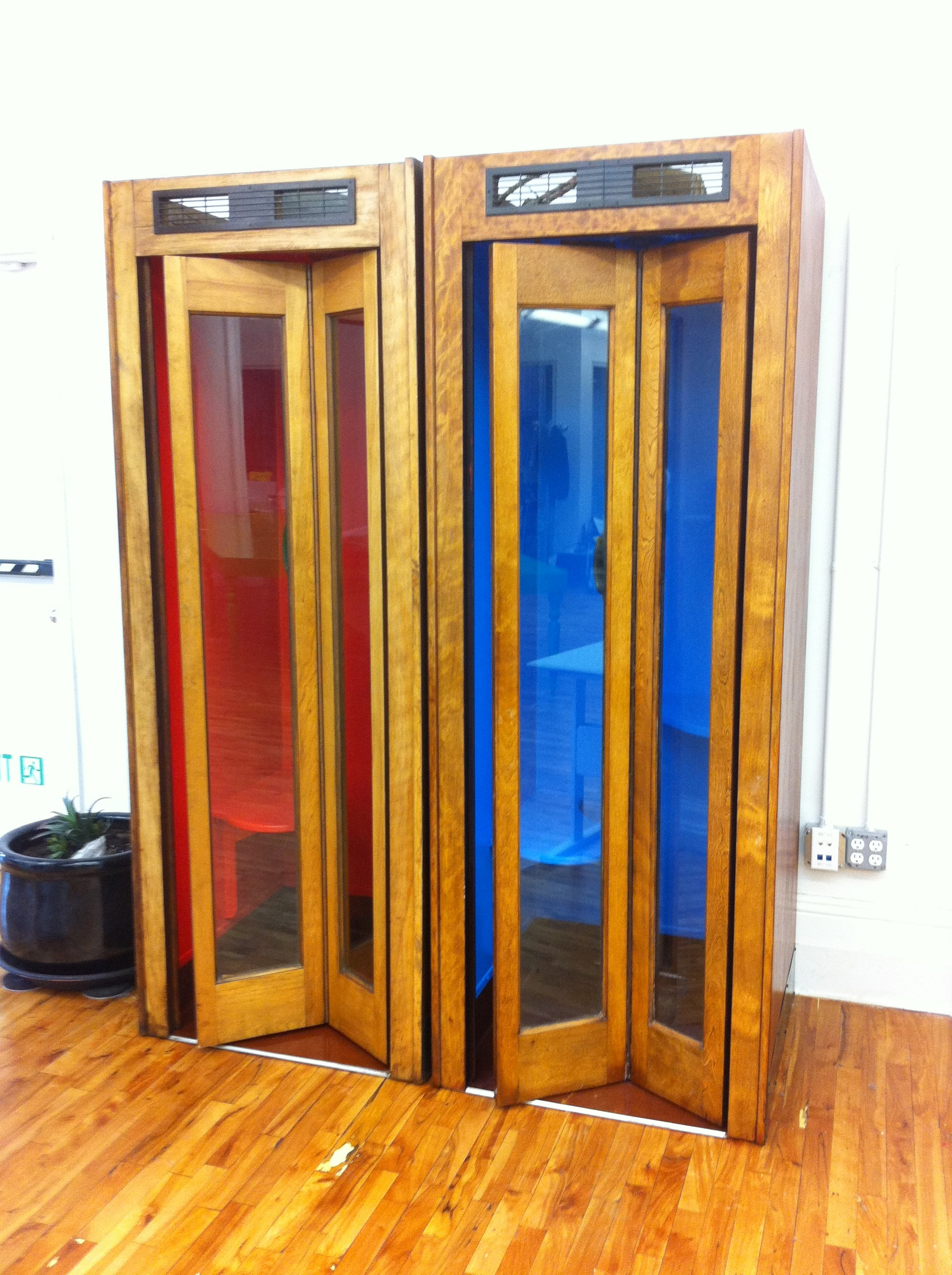 A pic of the painted phone booths with doors closed