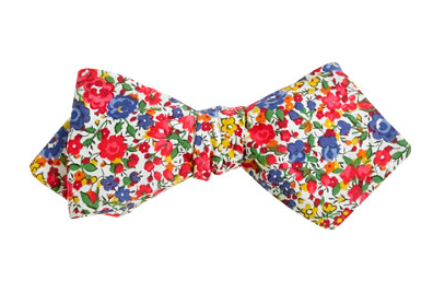 A shot of a floral bow tie by J.Crew