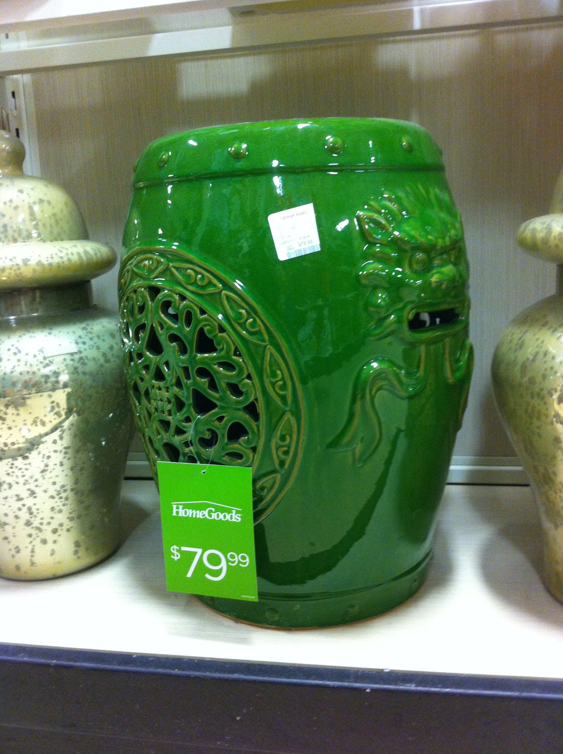 Image of green ceramic garden seat from HomeGoods