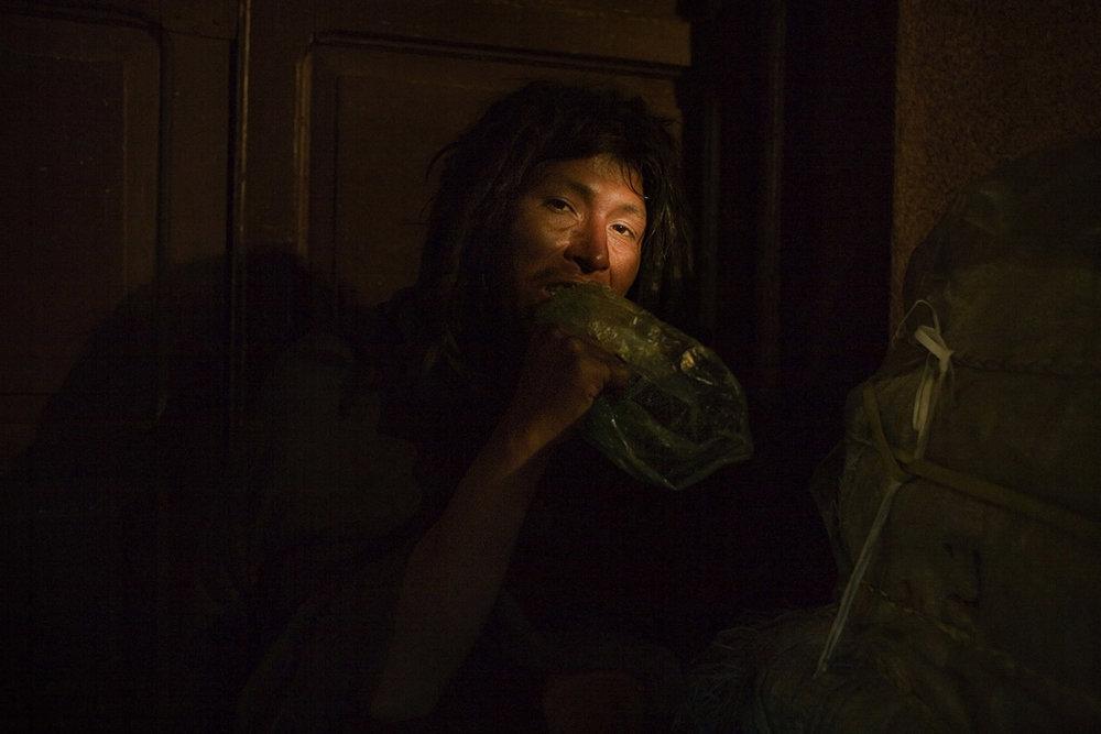 A HOMELESS PANICKING ON COCAINE BASE
