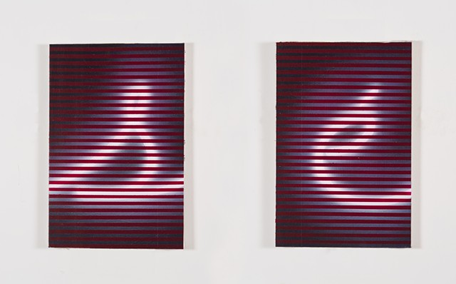 "s, e (installation shot)  2013  Acrylic on Sheetrock  15"" x 10"" each"