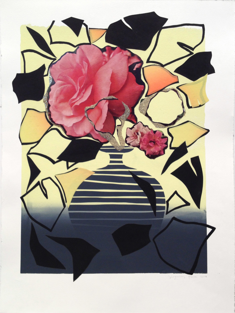 Composition rose  2014  Screenprinting and collage  20 x 15 in.