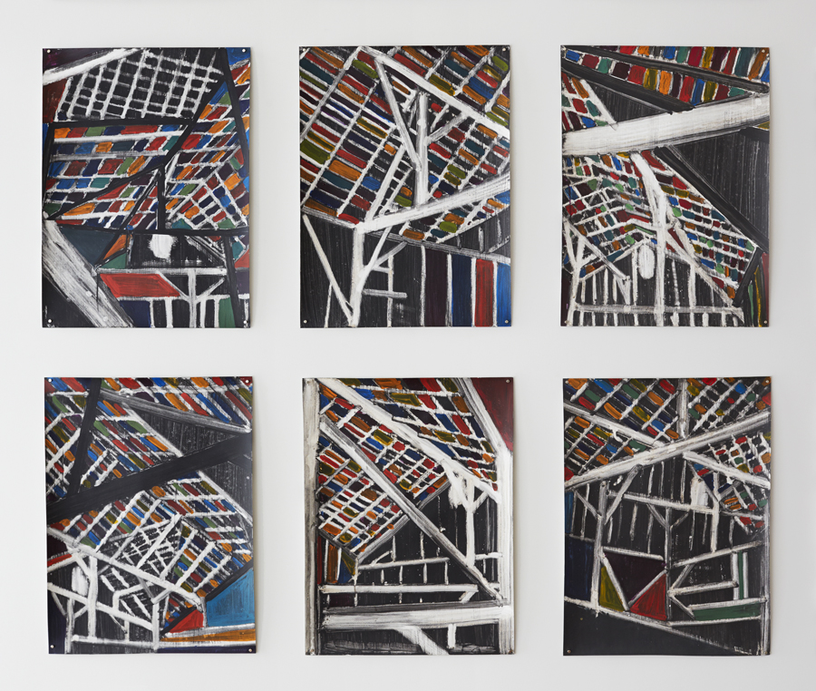 "Kurt Lightner ""Cathedrals of Work"" Acrylic on Gessoed Paper 18""x24""each"