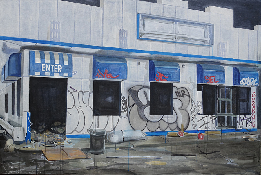 "White Castle Purgatory   2015 Acrylic on Canvas 48""x72"""