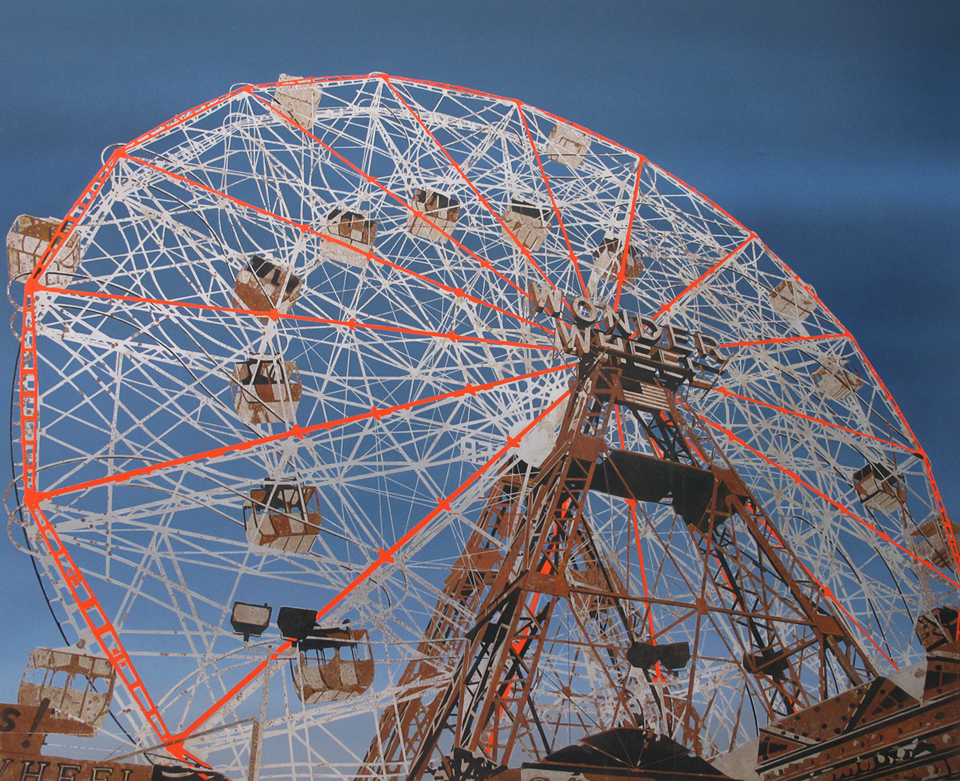 "Wonder Wheel   2010 Rust, charcoal and enamel on steel panel 52""x60"""