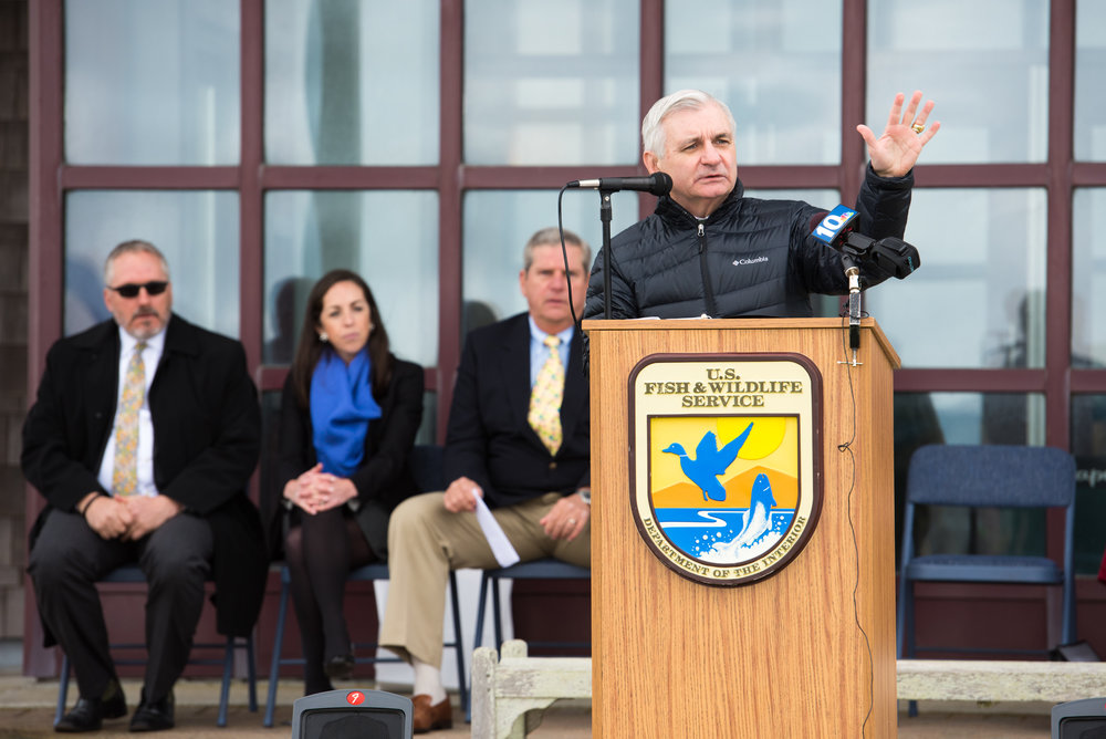 U.S. Senator for Rhode Island Jack Reed addressing the community at the project completion ceremony. Photo courtesy Andrea Hansen Photography.