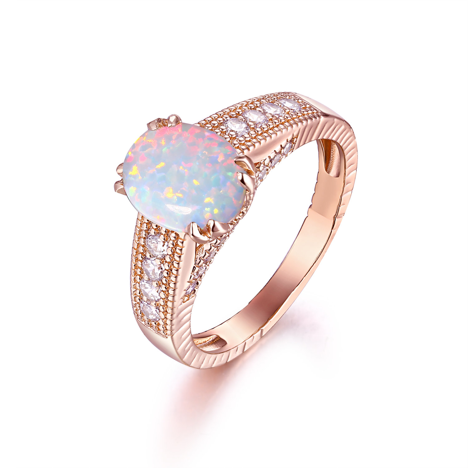 18k Gold Plated Rose Gold And White Fire Opal Engagement Ring