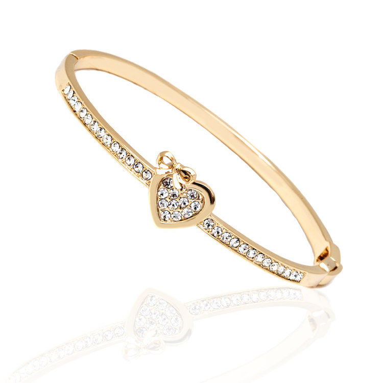 heart white shop gold bangle and bracelet elements bow bangles swarovski plated