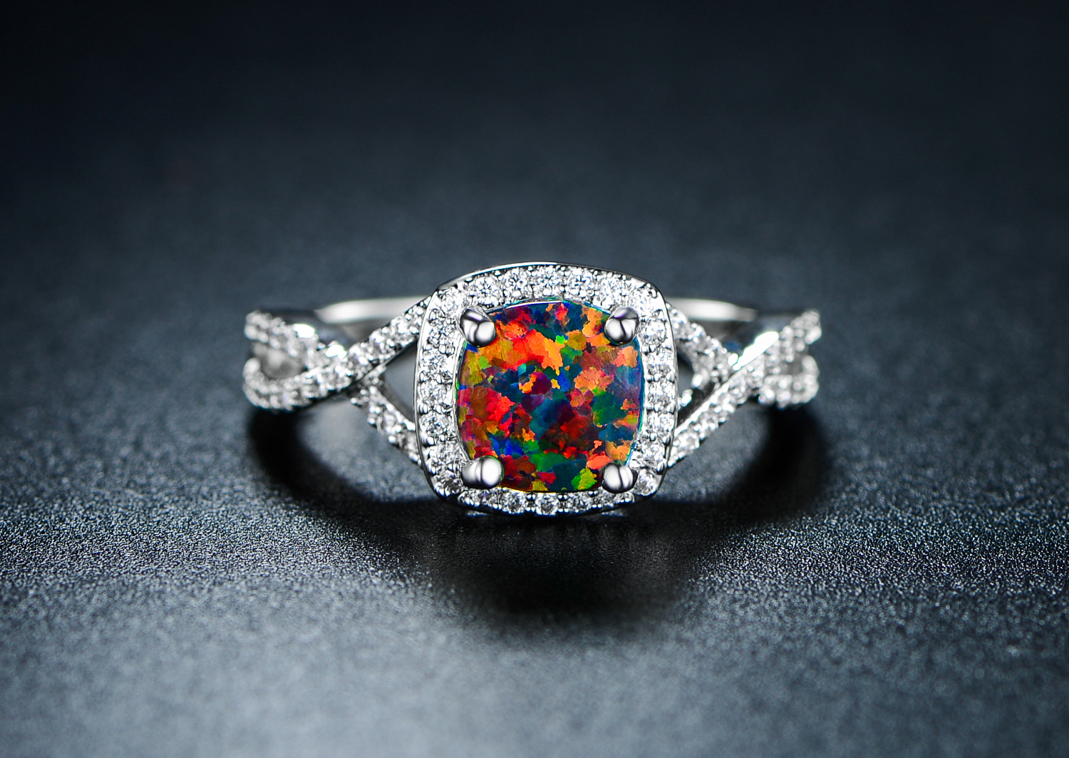 b185a58c0 18K White Gold Plated Black Opal Ring — Peermont