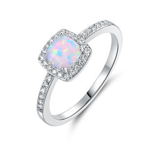 8a11b5a07 18K White Gold Plated White Fire Opal & Cubic Zirconia Ring