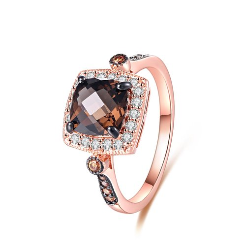 18k Rose Gold Plated Cushion Cut Genuine Smoke Topaz Lab Created Morganite Ring