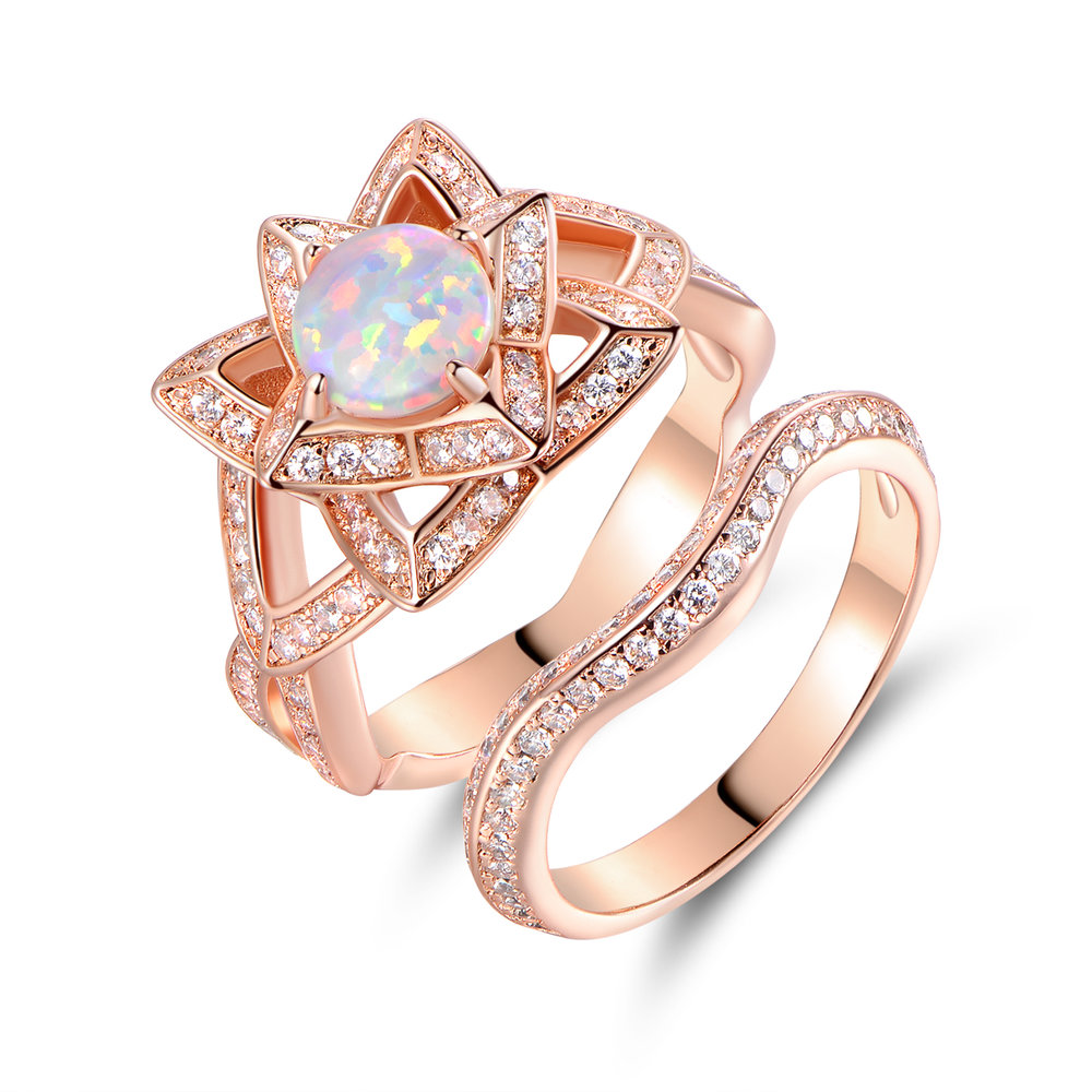 18k rose gold plated white fire opal flower ring set peermont 18k rose gold plated white fire opal flower ring set mightylinksfo