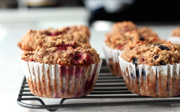 Delicious Blueberry Banana Protein Muffins - From Bakeaholic.com