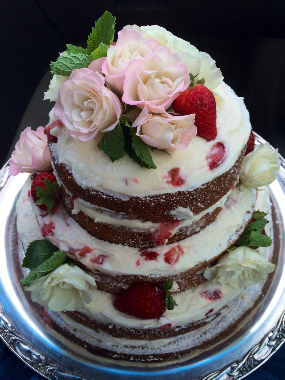 Strawberry Yogurt Engagement Cake