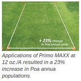 Applications of Primo MAXX at 12 oz./A resulted in a 23% increase in Poa annua populations.