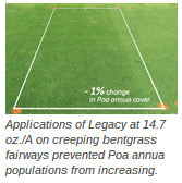 Applications of Legacy at 14.7 oz./A on creeping bentgrass fairways prevented Poa annua populations from increasing.