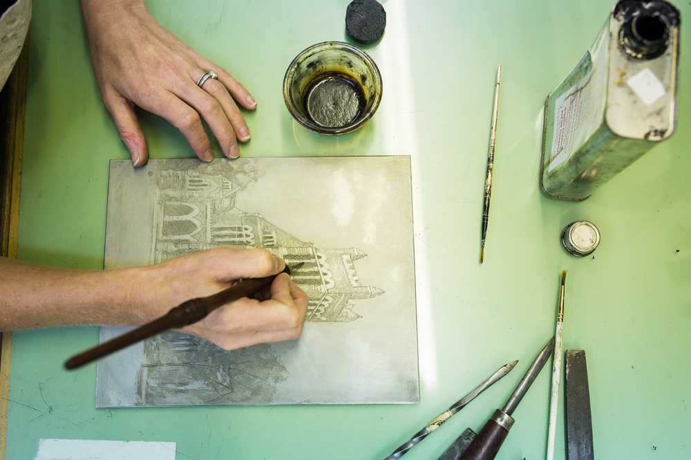 Here is a sneak peek of one of the images I took of Jill Marlar's process as she creates Intaglio prints; specifically here, she is showing me how she created the cover artwork for the magazine. To see more of Jill's work or purchase, visit her Etsy shop here.