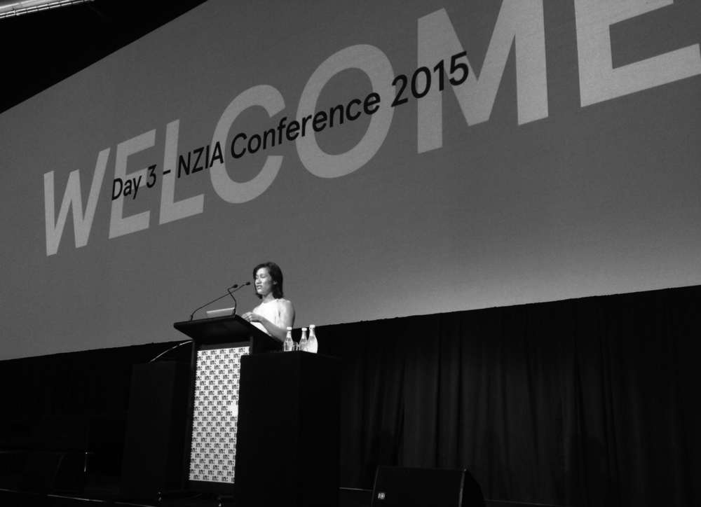 Jo Aitken speaking at the NZ Architecture Conference.  Photo by Kunle Adeyemi