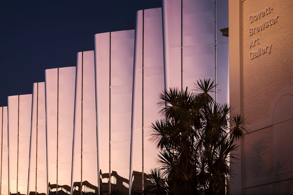 The Len Lye Centre gleams in the twilight. Photo by Patrick Reynolds. Source: Black Magazine Online