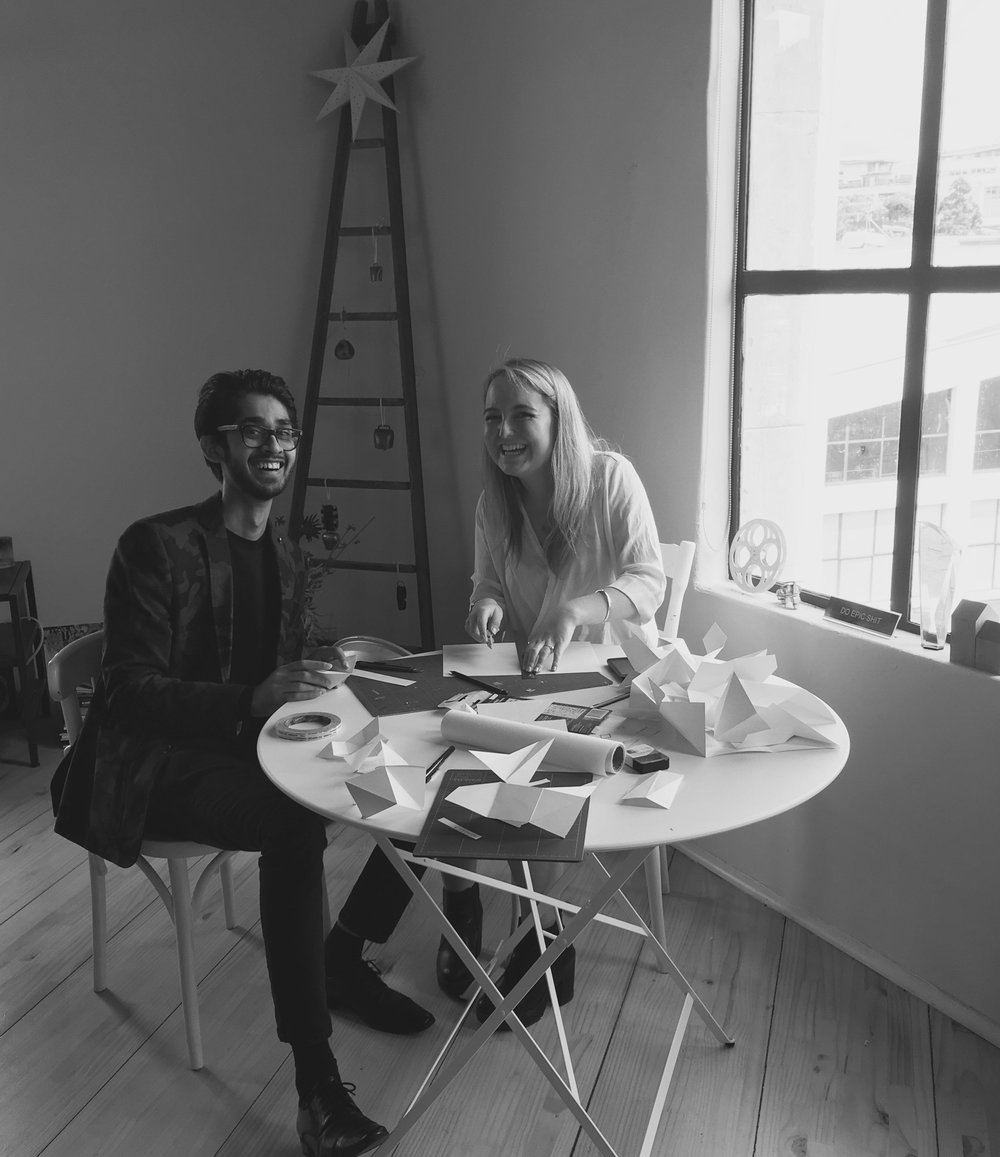 Madumal Gunaratna and Sophie Crews get into some good fashioned paper folding at our Auckland based studio.