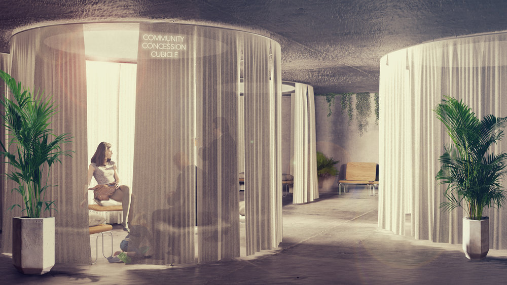 Meeting spaces for community use as well as the community advice bureau (CAB), varying in both visual and acoustic privacy.