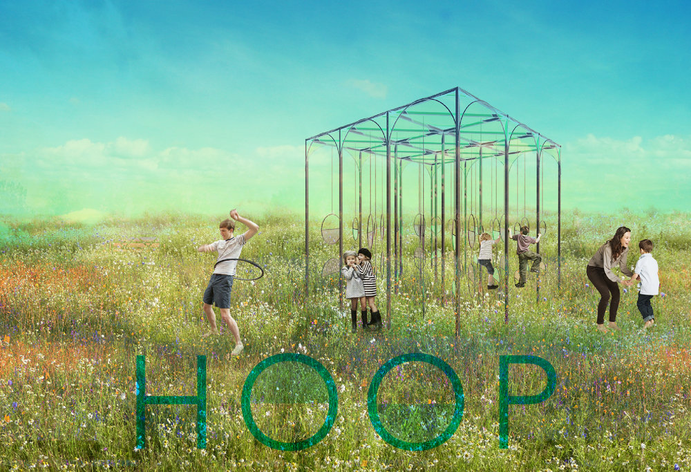 Part of our Eat, Play, Learn Outdoor Series for Schools and learning Facilities  : HOOP rethinks and redesigns the traditional playground. The project is a simple structure that allows kids to determine how they use it in their own way, using their imagination.  The space is flexible and is able to change its primary function through the addition and subtraction of elements such as the hanging hoop swing structures and mesh walls. The simplicity of the structure and its use of repetition allows HOOP to be a less expensive option for a play/shade structure. Its configuration with hanging colourful hoops induces play and wonder through colour and repetition, creating a kaleidoscopic or maze-like environment.  Although HOOP can act as a playground, it is also a shade structure that can be used for outdoor learning, eating or events.