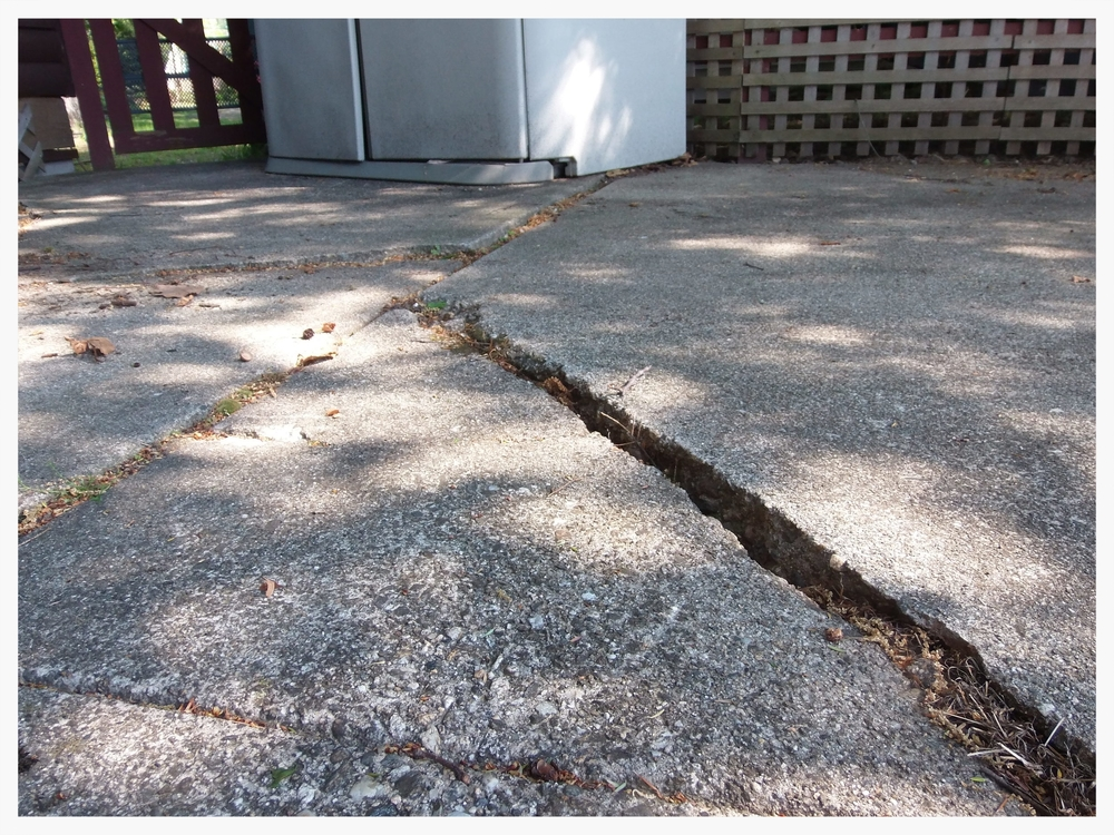 Cracked and sinking concrete patio, Swanzey, NH