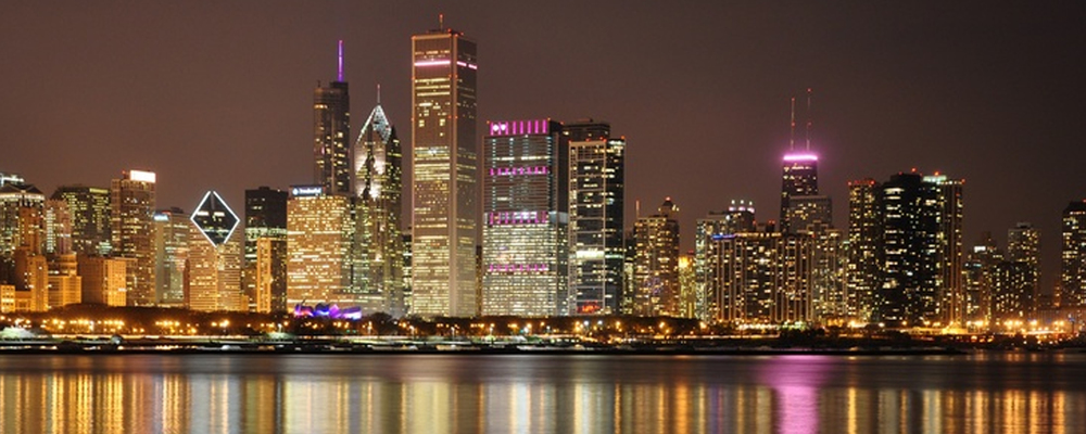 Chicago skyline lights up in pink