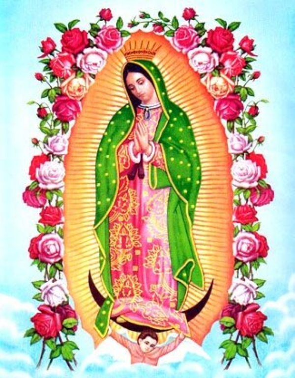 Notice this image of the Virgin of Guadalupe, a traditional Mexican representation of Mother Mary... Does the shape of the painting look familiar?