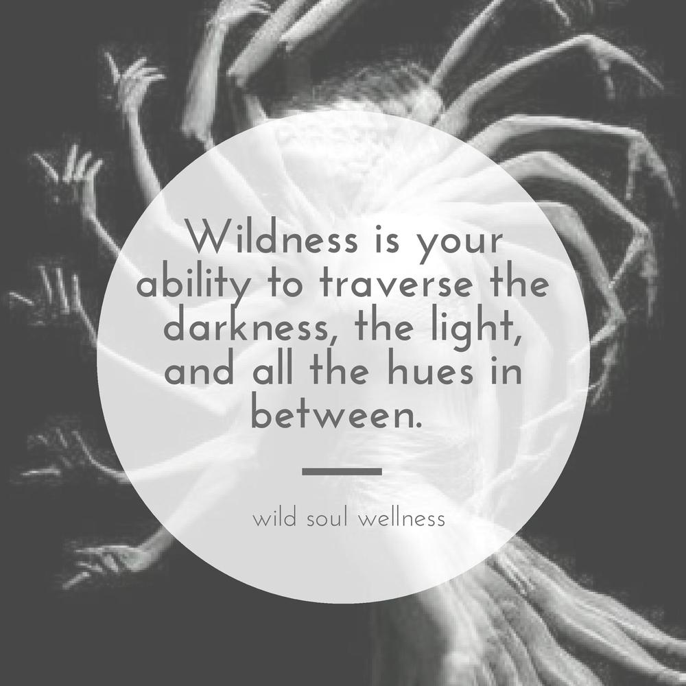 » CLICK TO TWEET « Wildness is your ability to traverse the darkness, the light, and all the hues in between.
