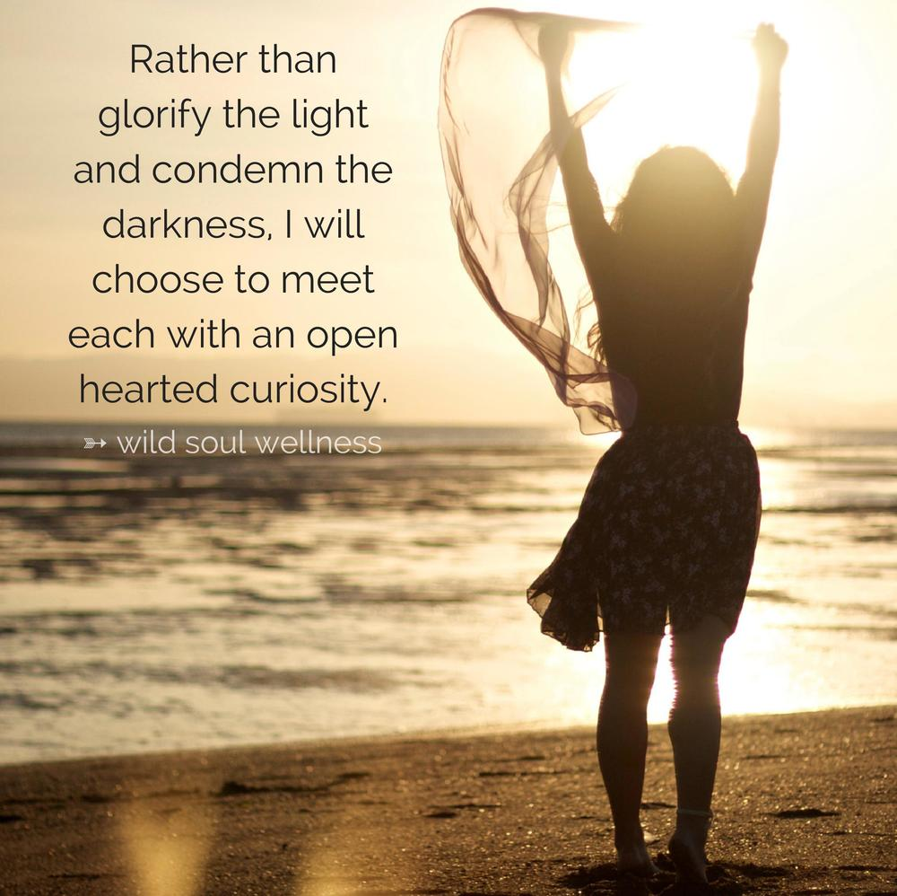 """""""Rather than glorify the light and condemn the darkness, I will choose to meet each with an open hearted curiosity."""" » CLICK TO TWEET «"""